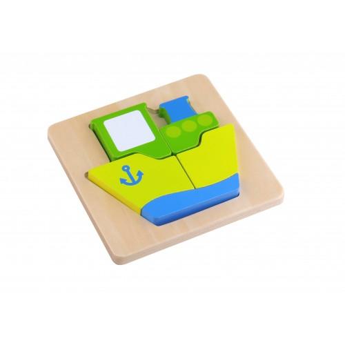 Mini Puzzle vapor colorat din lemn 0