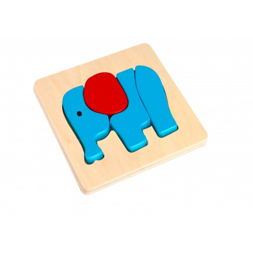 Mini Puzzle elefant colorat din lemn 0