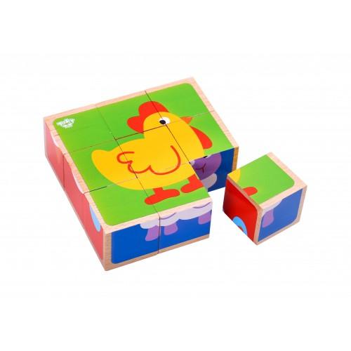 Puzzle animale cuburi colorate din lemn 0