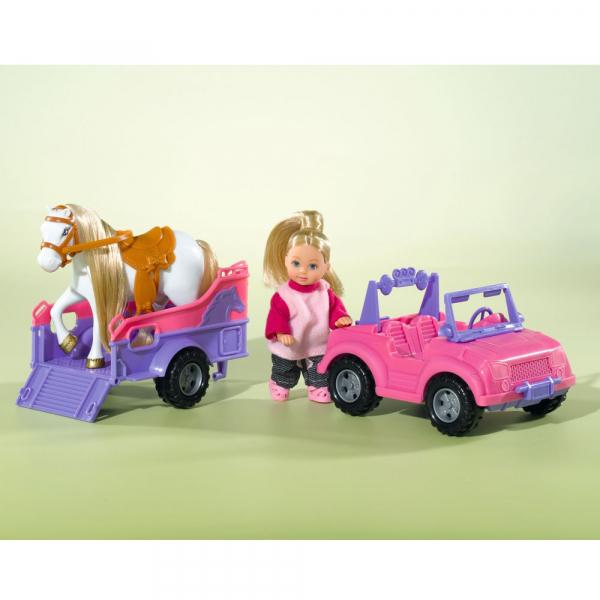 Papusa Simba Evi Love 12 cm Evi Horse Trailer cu masina, trailer si calut 1