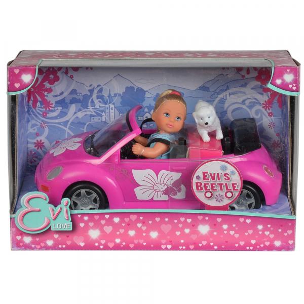 Papusa Simba Evi Love 12 cm Evi's Beetle cu masina, catelus si accesorii [2]