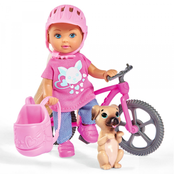 Papusa Simba Evi Love 12 cm Holiday Bike cu bicicleta si catelus 0