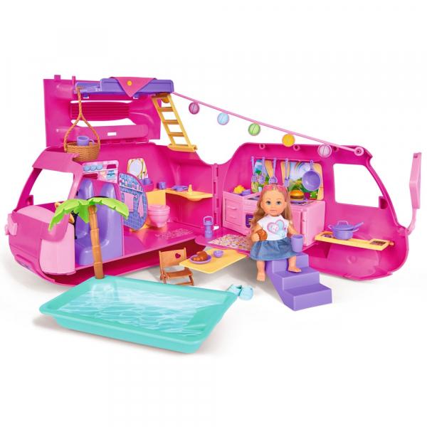 Papusa Simba Evi Love 12 cm Holiday Camper cu rulota si accesorii 0