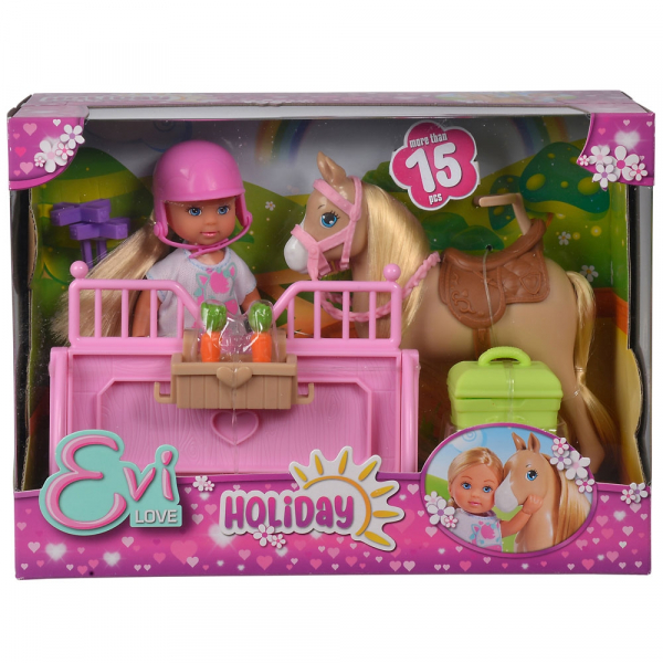 Papusa Simba Evi Love 12 cm Holiday Horse cu calut si accesorii 4