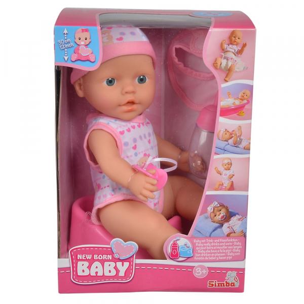 Papusa Simba New Born Baby 30 cm Bebe Darling cu olita si bavetica roz deschis 2