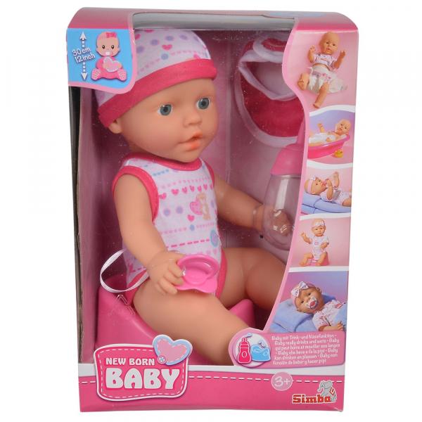 Papusa Simba New Born Baby 30 cm Bebe Darling cu olita si bavetica roz inchis 1