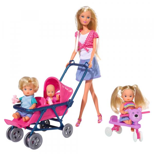 Papusa Simba Steffi Love 29 cm Baby World cu 2 copii, 1 bebelus si accesorii 0
