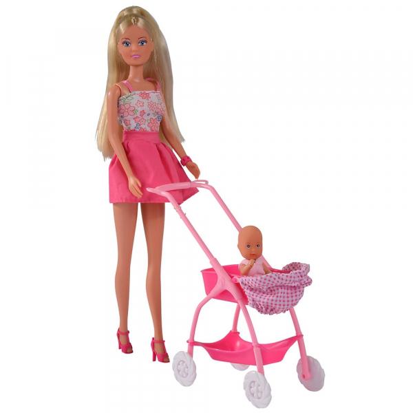 Papusa Simba Steffi Love Baby Walk 29 cm roz cu carucior si accesorii 0