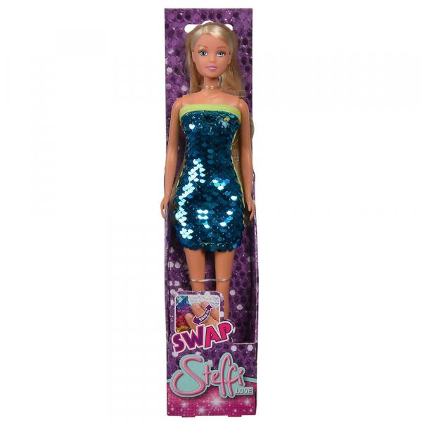 Papusa Simba Steffi Love Swap 29 cm cu rochie albastru 1