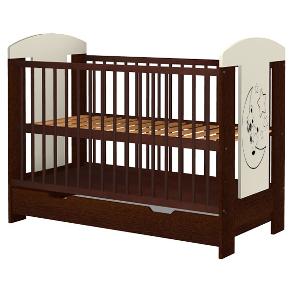 Patut copii din lemn Hubners Carolin Ursulet 120x60 cm venghe cu sertar [0]