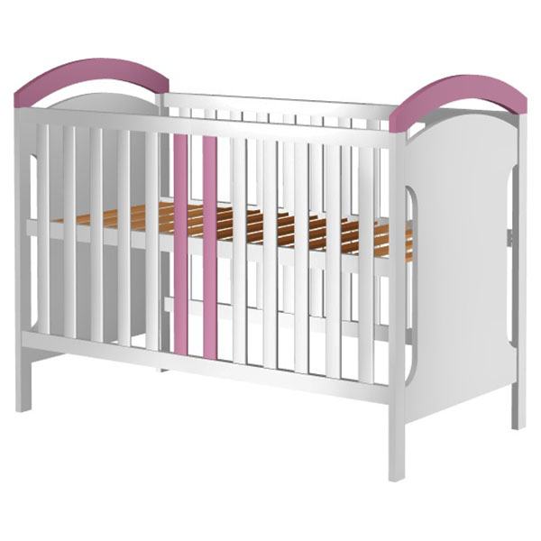 Patut copii din lemn Hubners Hansell 120x60 cm alb-roz [0]