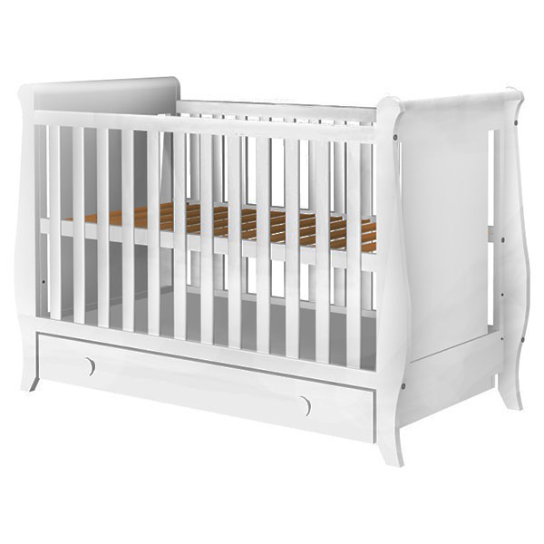 Patut copii din lemn Hubners Mira 120x60 cm alb cu sertar 0