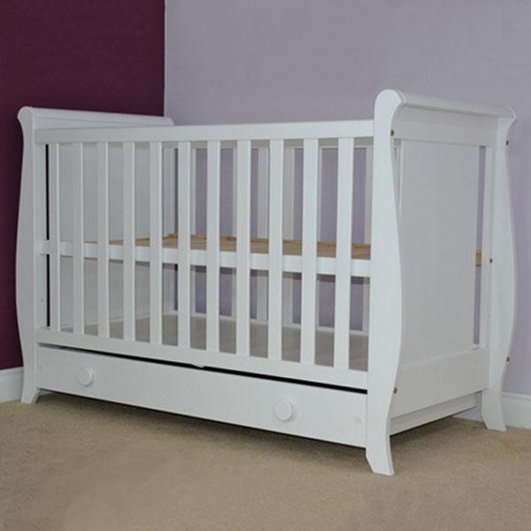Patut copii din lemn Hubners Mira 120x60 cm alb cu sertar 1