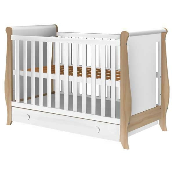 Patut copii din lemn Hubners Mira 120x60 cm alb-natur cu sertar 0