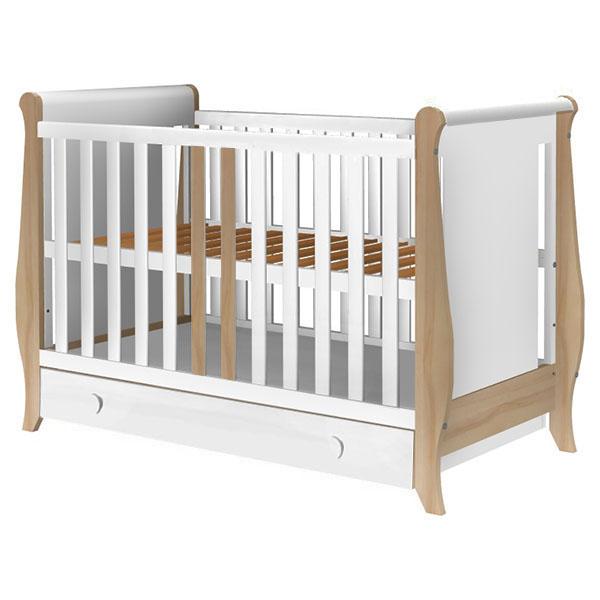 Patut copii din lemn Hubners Mira 120x60 cm alb-natur cu sertar 1