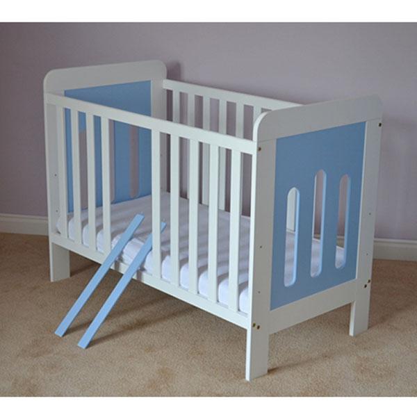 Patut copii din lemn Hubners Sophie 120x60 cm alb-albastru 2