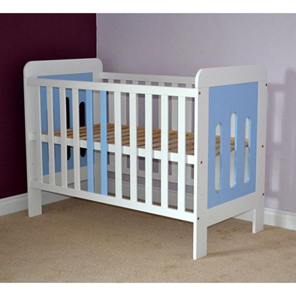 Patut copii din lemn Hubners Sophie 120x60 cm alb-albastru 1