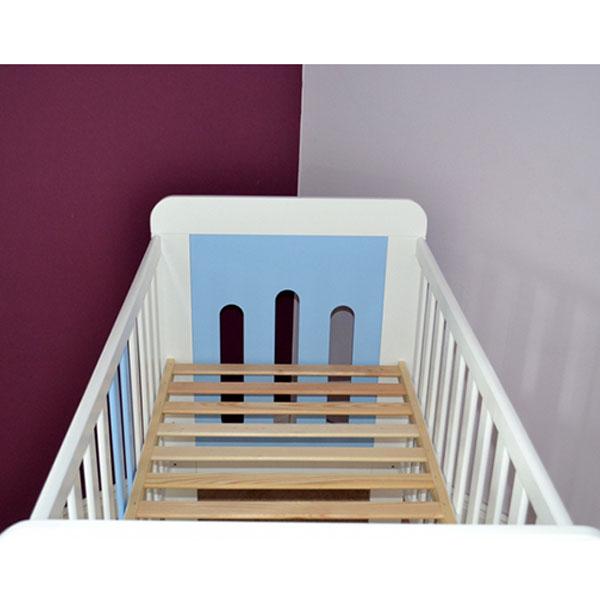 Patut copii din lemn Hubners Sophie 120x60 cm alb-albastru 3