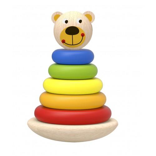 Piramida de stivuit cu inele colorate si ursulet din lemn 0
