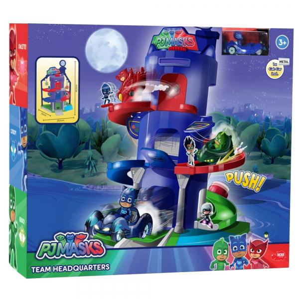 Pista de masini Dickie Toys Eroi in Pijama Team Headquarter cu 1 masinuta si 1 figurina 2
