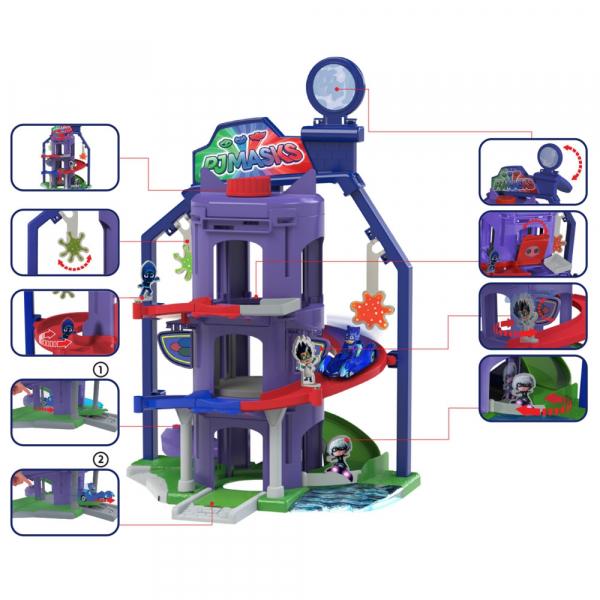 Pista de masini Dickie Toys Eroi in Pijama Team Headquarter cu 1 masinuta si 1 figurina 1