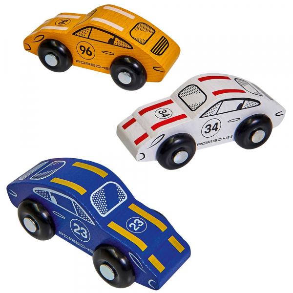 Pista de masini din lemn Eichhorn Porsche Racing cu 3 masinute 4