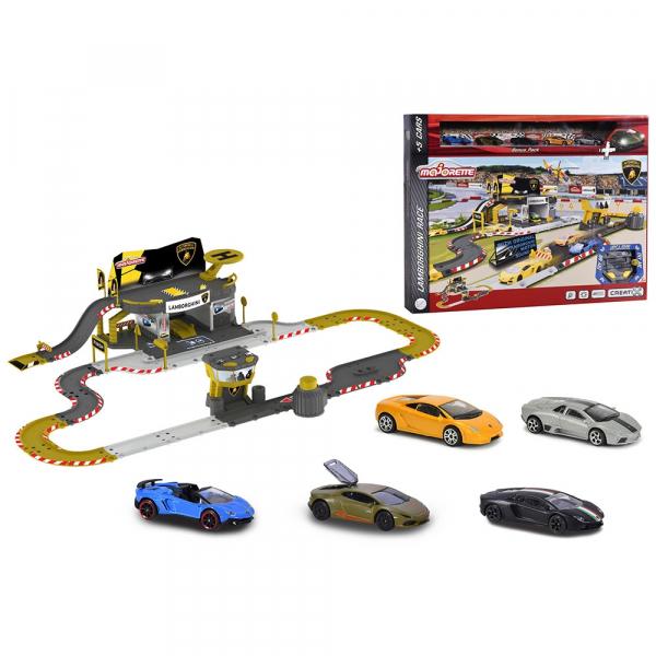 Pista de masini Majorette Creatix Lamborghini Race cu 5 masinute 0