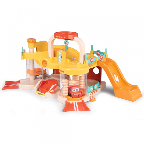 Pista de masini Smoby Vroom Planet Garage cu masinuta Cars 4