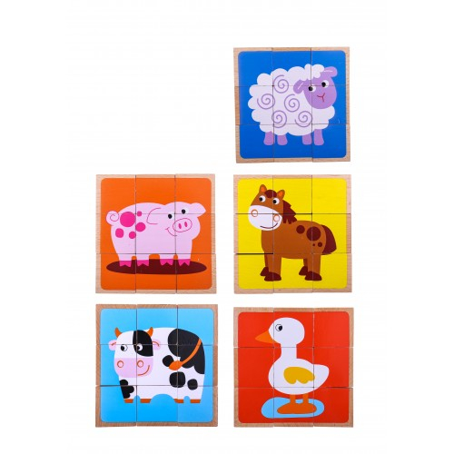 Puzzle animale cuburi colorate din lemn 1