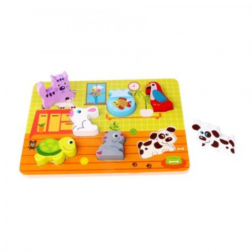 Puzzle incastru cu animale din lemn 0