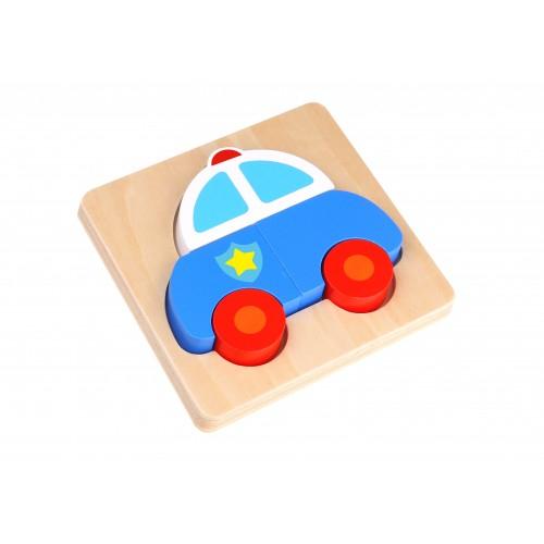Mini Puzzle masina de politie colorata din lemn 0
