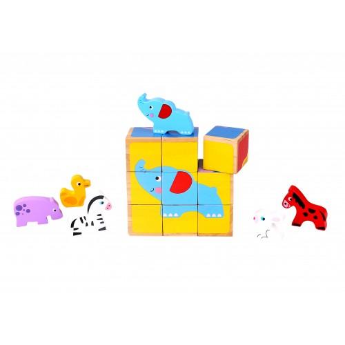 Puzzle cuburi din lemn si animale in miniatura 0
