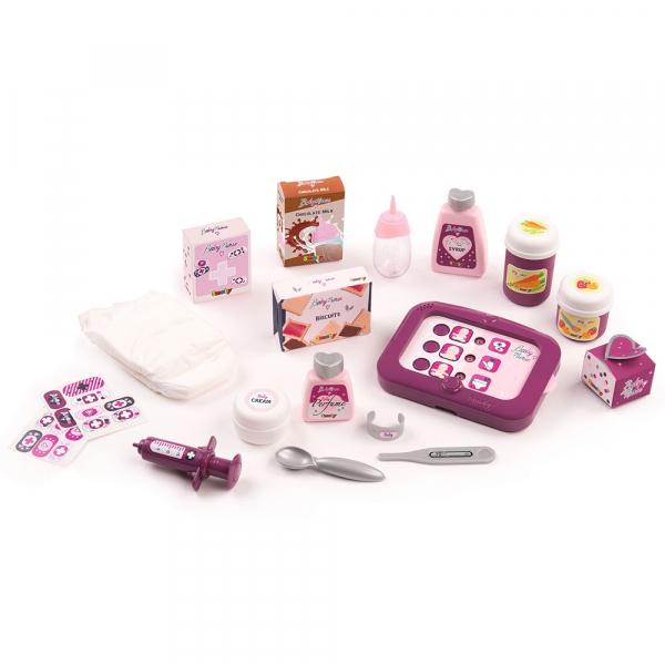 Set cadita si accesorii pentru papusi Smoby Baby Nurse Nursery mov [1]