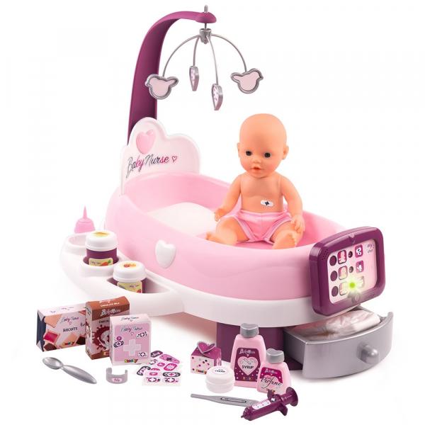 Set cadita si accesorii pentru papusi Smoby Baby Nurse Nursery mov [0]