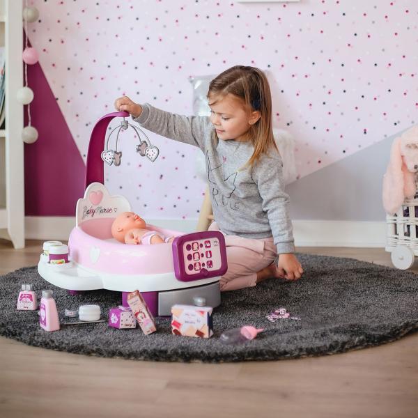 Set cadita si accesorii pentru papusi Smoby Baby Nurse Nursery mov [5]