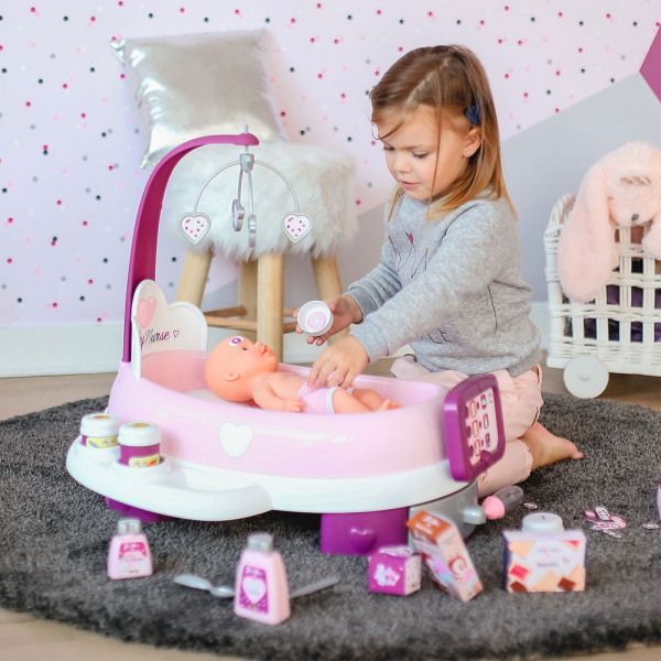 Set cadita si accesorii pentru papusi Smoby Baby Nurse Nursery mov [7]