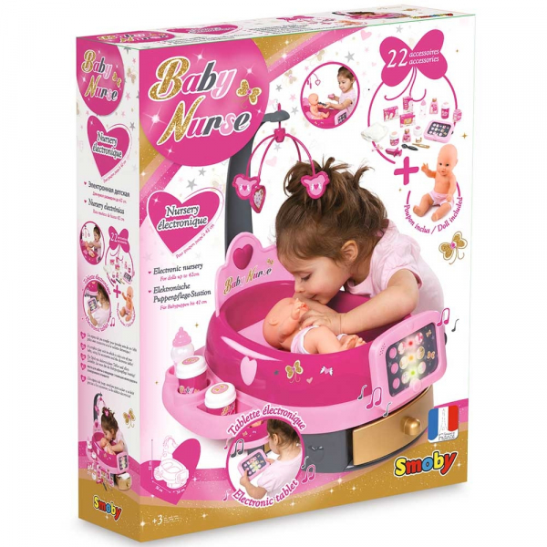 Set cadita si accesorii pentru papusi Smoby Baby Nurse Nursery roz [7]