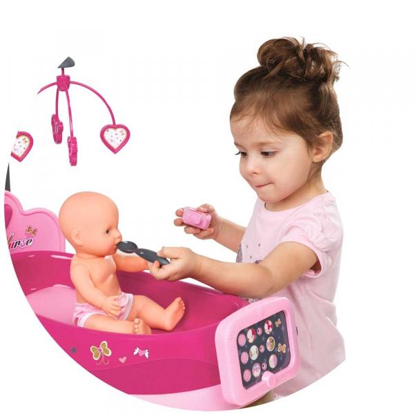 Set cadita si accesorii pentru papusi Smoby Baby Nurse Nursery roz [4]
