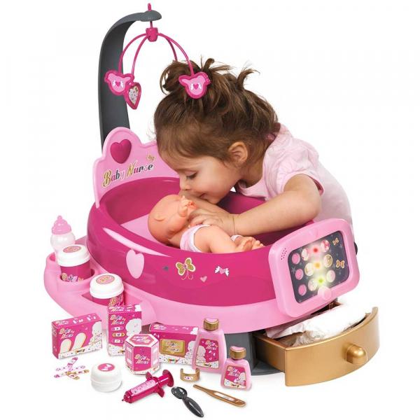 Set cadita si accesorii pentru papusi Smoby Baby Nurse Nursery roz [3]