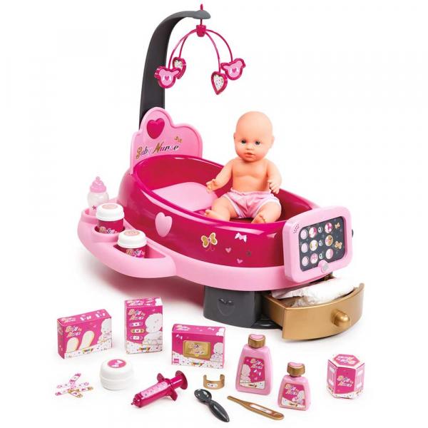 Set cadita si accesorii pentru papusi Smoby Baby Nurse Nursery roz [0]