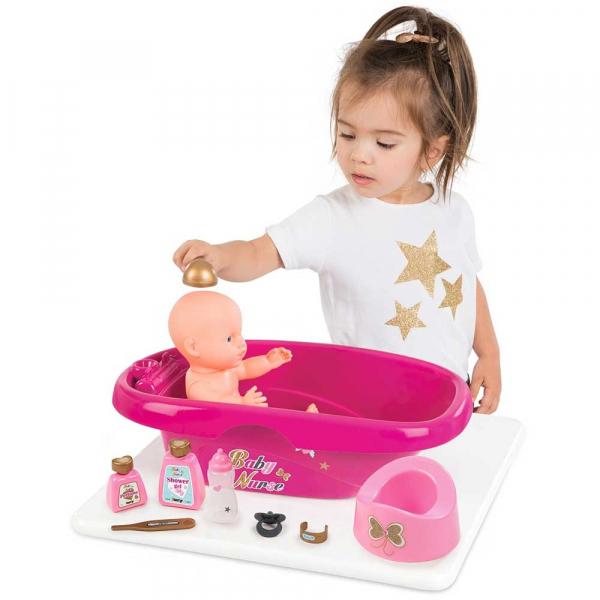 Set de baie pentru papusi Smoby Baby Nurse cu 9 accesorii 1