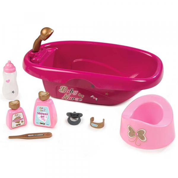 Set de baie pentru papusi Smoby Baby Nurse cu 9 accesorii 0