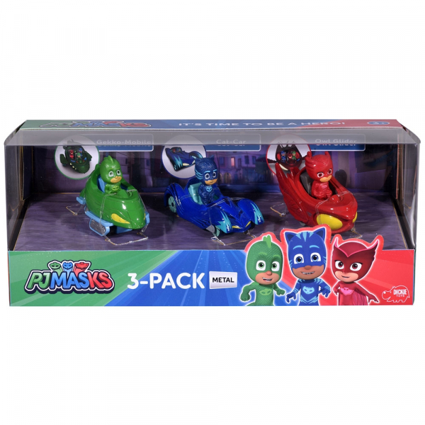 Set Dickie Toys 3 Masinute Eroi in Pijama cu 3 figurine 1