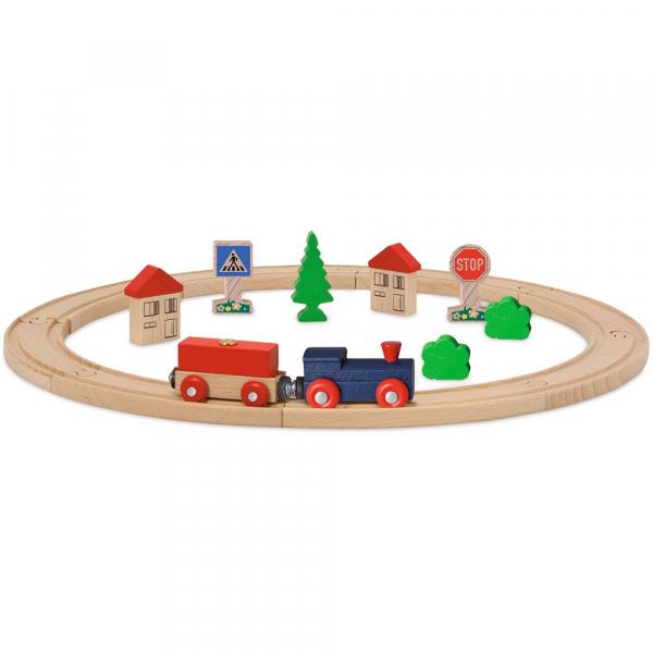Set din lemn Eichhorn Tren albastru cu sina circulara si accesorii 0