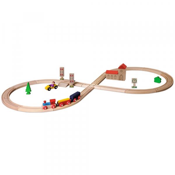Set din lemn Eichhorn Tren cu sina in forma 8 si accesorii 0