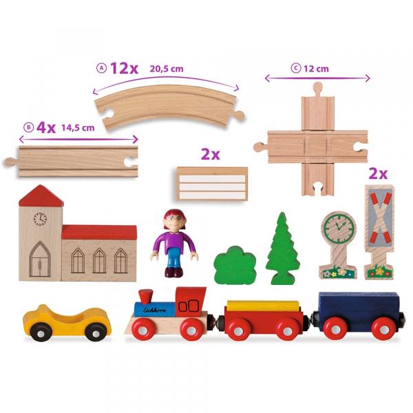 Set din lemn Eichhorn Tren cu sina in forma 8 si accesorii 3