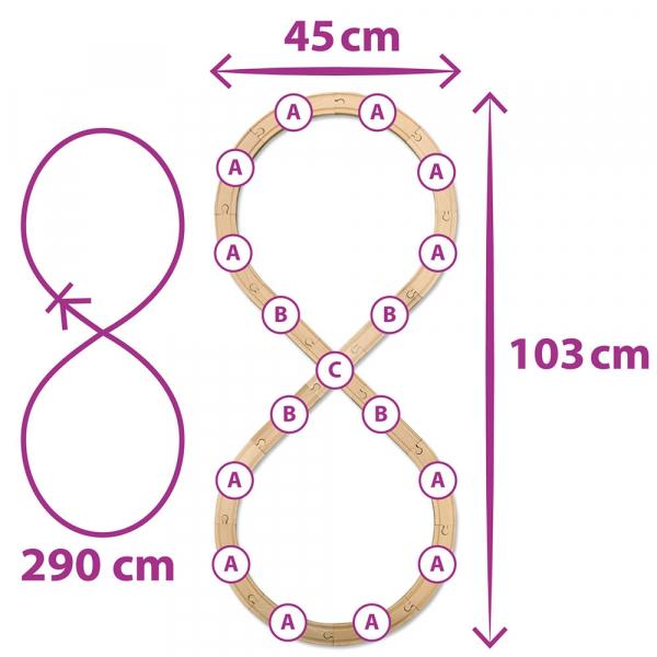 Set din lemn Eichhorn Tren cu sina in forma 8 si accesorii 2