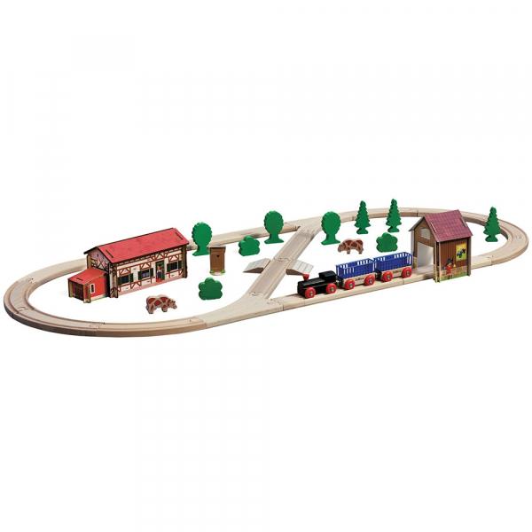 Set din lemn Eichhorn Tren Farm cu sina in forma ovala cu accesorii 0
