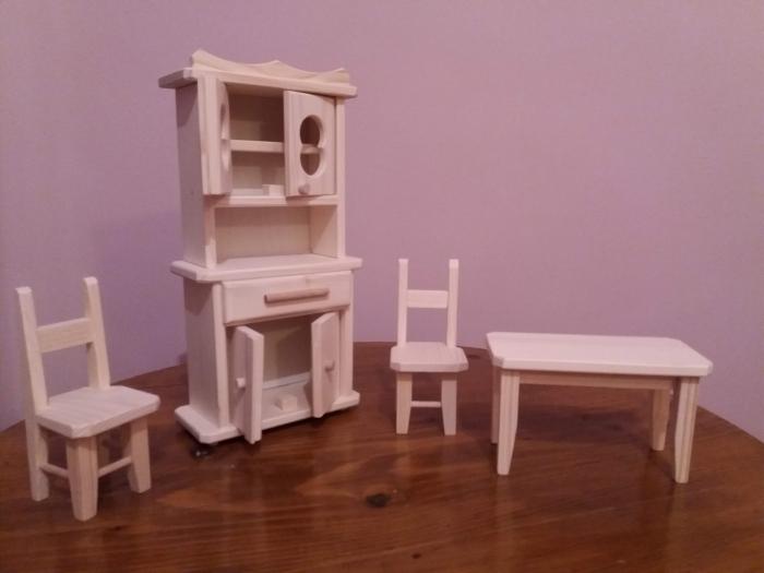 Set mobilier bucatarie din lemn natur pentru papusi 2