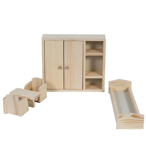 Set mobilier dormitor din lemn natur pentru papusi [0]